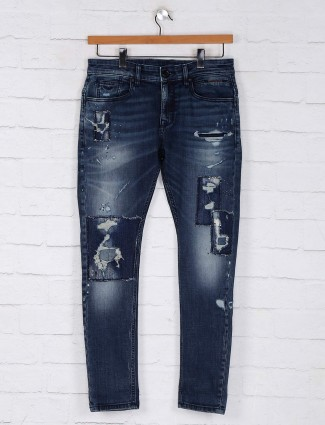 Rookies blue ripped slim fit jeans