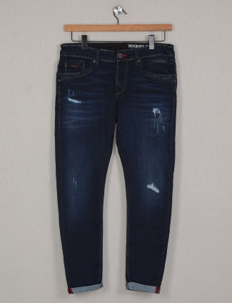 Rookies navy shade slim fit denim for casual sessions