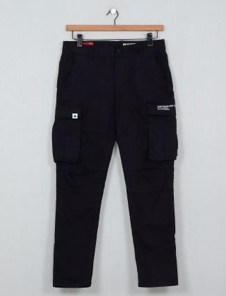 Rookies solid black slim fit denim jeans