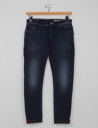 Rookies washed casual navy slim fit jeans