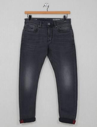Rookies washed dark grey slim fit jeans