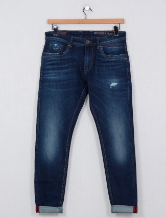 Rookies washed navy slim fit men casual jeans