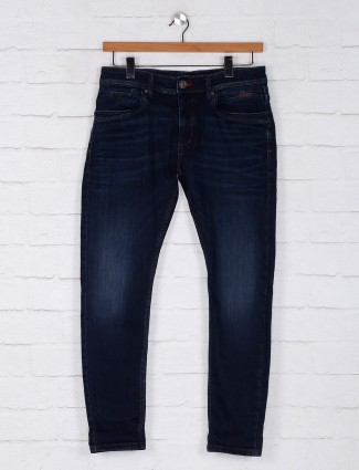 Rookies washed navy slim fit mens jeans