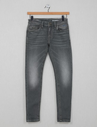 Rookies washed pattern grey jeans
