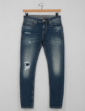 Rookies washed pattern mens blue jeans