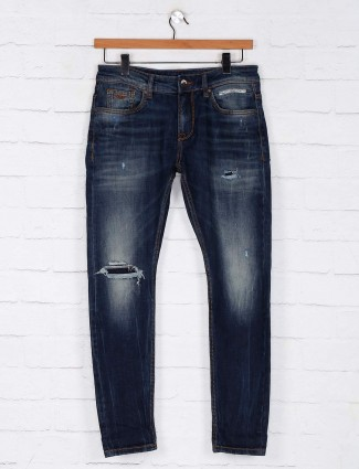 Rookies washed ripped navy slim fit jeans