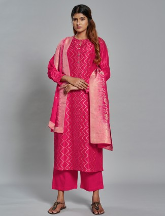 Rouge pink hue festive wear palazzo set with zari work