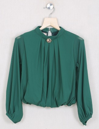 Roxy casual style bottle green solid top for girls in georgette