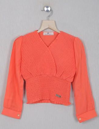 Roxy presented orange hue georgette top