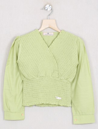 Roxy solid style pastel green tint casual top for girls