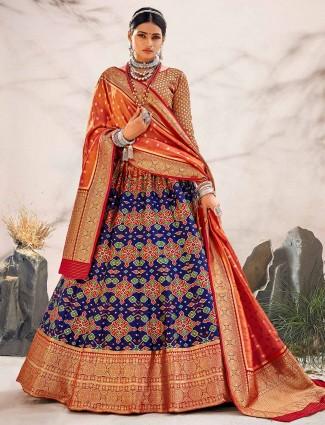 Royal blue unstitched wedding wear patola silk lehenga choli