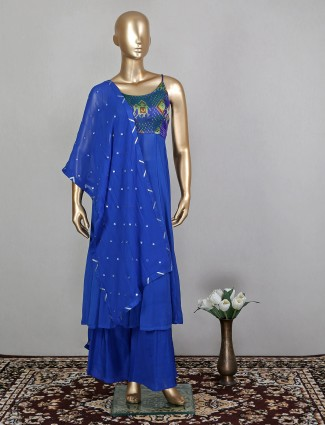 Royal blue charming georgette wedding wear palazzo suit for women