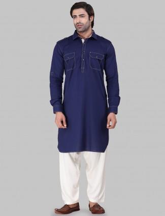 Royal blue cotton rayon pathani suit