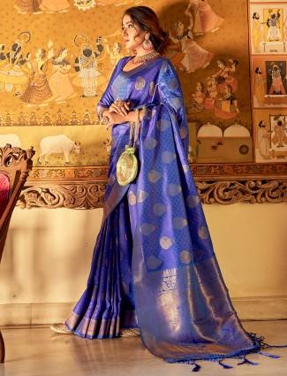 Royal blue hue jacquard silk saree for wedding occasion