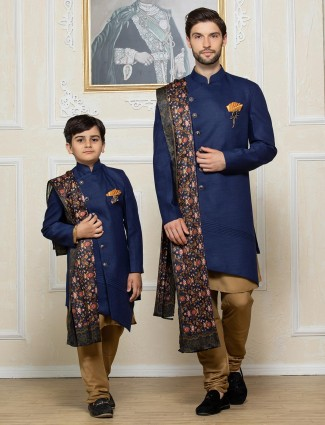 Royal blue party function terry rayon father son indo western