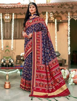 Royal blue patola silk saree for wedding