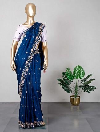 Royal blue wedding wear saree in cotton silk