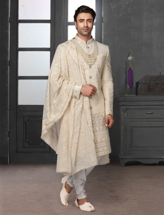 Royal cream silk lakhnavi chikan sherwani