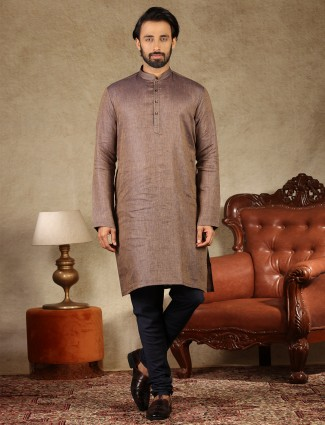 Royal grey solid cotton fabric kurta suit