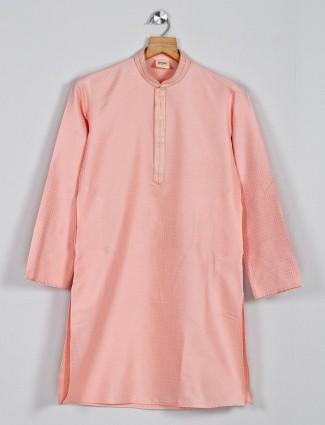 Royal peach cotton silk kurta