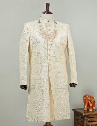 Royal silk sherwani in cream color