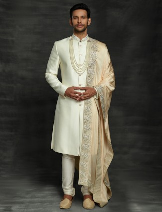 Royal solid cream raw silk sherwani set