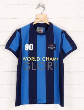 Ruff blue and navy stripe slim fit t-shirt