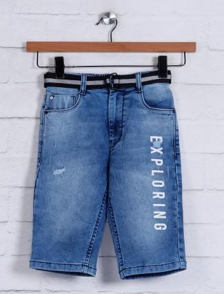 Ruff blue washed denim shorts