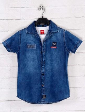 Ruff boy blue denim solid shirt