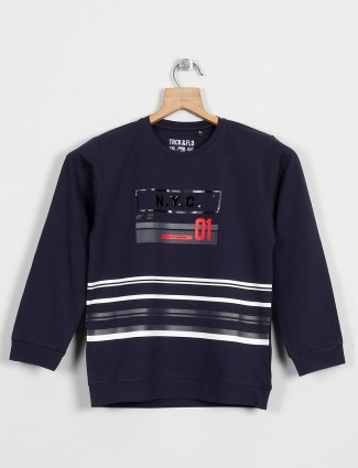 Ruff brand printed navy shade t-shirt for casual look