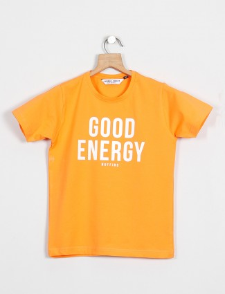 Ruff brings printed yellow cotton t-shirt for little boys