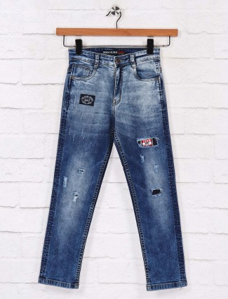 Ruff casual wear ripped blue jeans