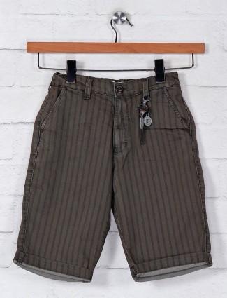 Ruff cotton olive stripe pattern boys shorts
