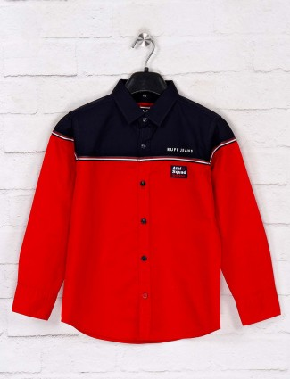 Ruff cotton red solid boys shirt