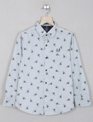 Ruff grey printed shirt for boys in cotton