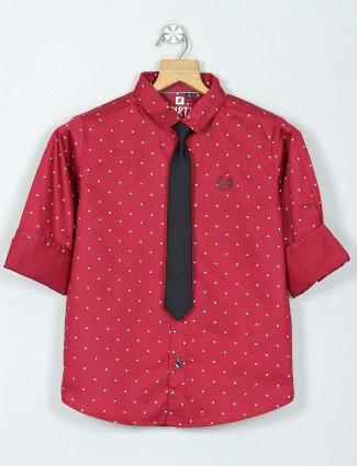 Ruff maroon printed full sleeve shirt