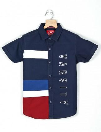 Ruff navy printed casual wear boys shirt