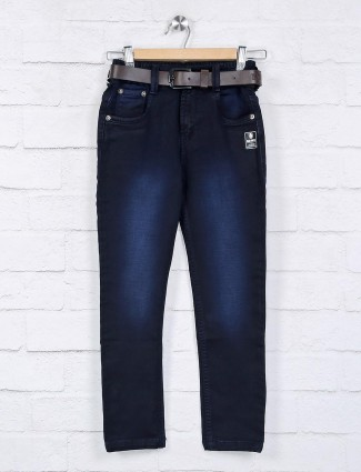 bad Boys navy solid denim elasticated jeans