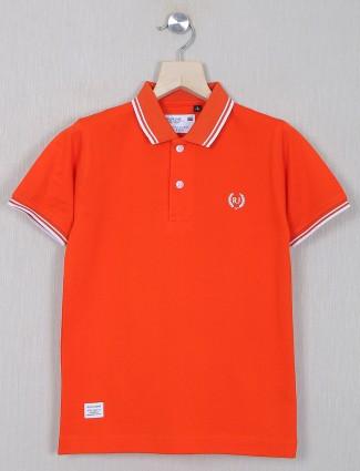 Ruff polo neck t-shirt for boys in orange