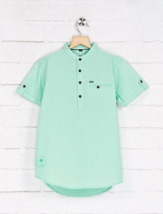 Ruff presented sea green solid shirt