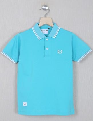 Ruff presented sky blue cotton casual t-shirt