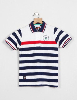 Ruff presented striped style white t-shirt