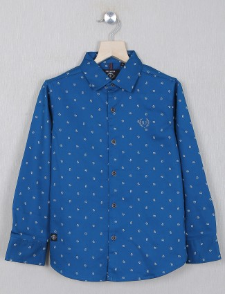 Ruff presented turquoise blue cotton shirt for boys