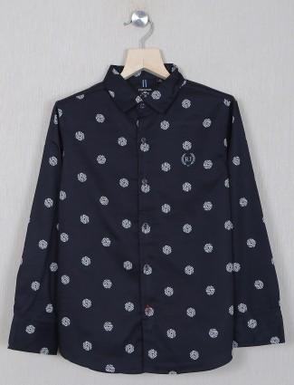 Ruff printed black shirt in cotton