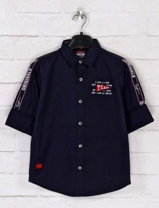 Ruff printed navy casual shirt