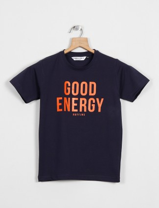 Ruff Printed navy colour cotton casual t-shirt for boys