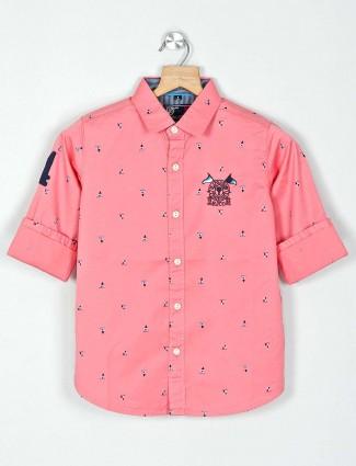Ruff printed pink casual cotton shirt
