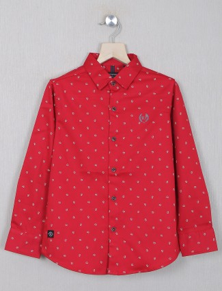 Ruff printed style red shirt in cotton for casual event