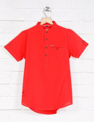 Ruff red solid casual wear shirt