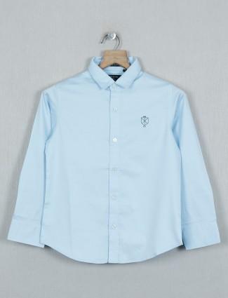 Ruff sky blue solid slim collar shirt